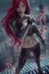 1440x2560 Redhead Fantasy Warrior Girl With Sword 4k