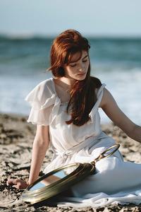 1440x2560 Redhead Girl Beach 4k
