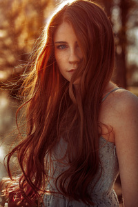 1440x2960 Redhead Girl Eye Covered Face Portrait 5k