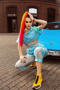 Redhead Girl Lamborghini 4k