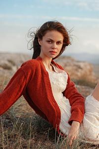 1440x2960 Redhead Girl White Dress Boots 4k