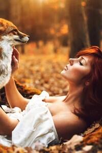 Redhead Girl With Fox