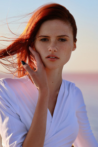 360x640 Redhead Model White Dress Looking At Viewer