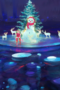 Reindeer Christmas Season Santa Colorful Digital Art 4k