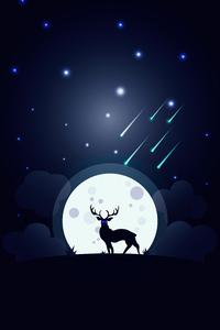 2160x3840 Reindeer Glowing Blue Eyes Moon 5k