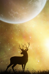 720x1280 Reindeer In Yellow Planet 5k