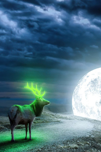 720x1280 Reindeer Magical Moon