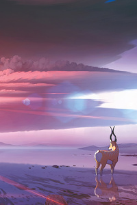 1080x2280 Reindeer Minimal Art 4k