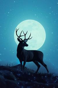 1080x1920 Reindeer Minimal Sky 5k