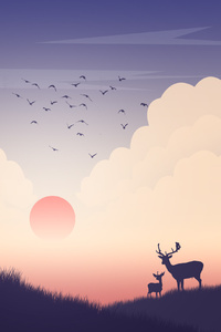 1080x2280 Reindeer Sunset View Minimalism