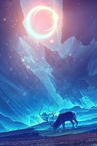 Reindeer Traveling The Galaxy 4k