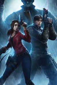 480x854 Resident Evil Claire Redfield Chris Redfield 4k Art