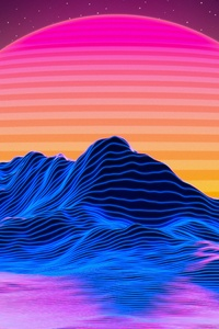 1125x2436 Retro Big Sunset 5k