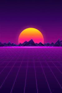 320x480 Retro Sunset 8k