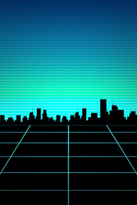 Retro Wave Path To Buildings 4k