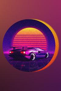 Retrowave Car Art 4k