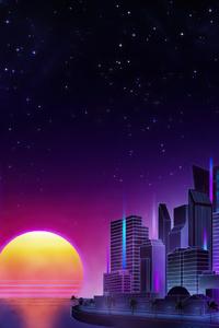 720x1280 Retrowave City Evening Sunset