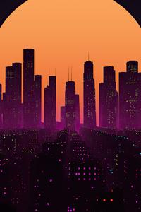 320x480 Retrowave City Sunset 4k