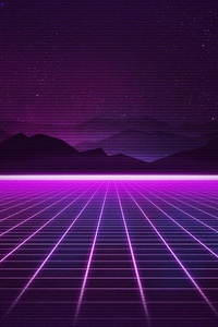 1242x2688 Retrowave Grid Mountain