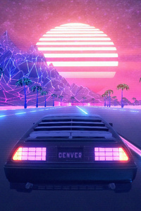 Retrowave Road Car 4k