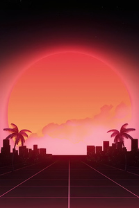 640x1136 Retrowave Road To City 4k