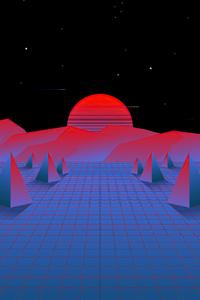 Retrowave Sun Synth Style 4k