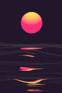 Retrowave Sunrise Reflection Clear Sky 4k
