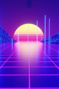 240x320 Retrowave Tron Grid