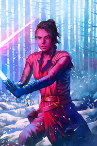 540x960 Rey And Kylo Ren Art