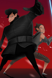 480x800 Rey And Kylo Ren Artwork 4k