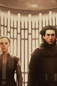 Rey Kylo Ren In Star Wars The Last Jedi Artwork