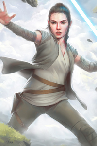 1440x2560 Rey Light Saber Art
