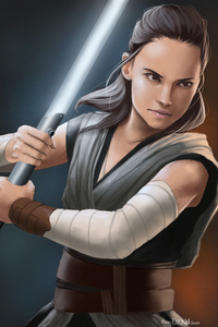 320x480 Rey Star Wars The Last Jedi Art HD