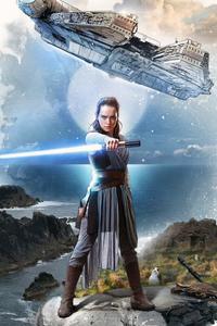 1440x2560 Rey Star Wars The Last Jedi Artwork