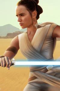 1080x2160 Rey Star Wars With Sword Digital Art 4k