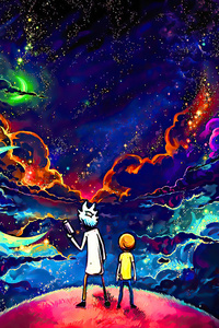 720x1280 Rick And Morty Orange Space Art 4k