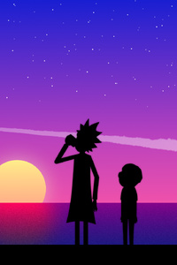 640x960 Rick And Morty Vaporwave Art
