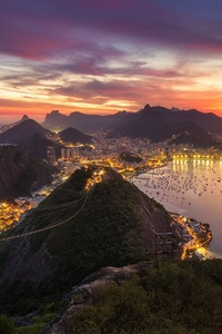 Rio De Janeiro Brazil Cityscape Evening Sunset