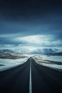 Road Iceland Clouds Highway Mountains Landscape 4k