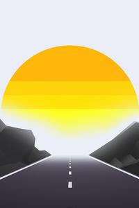 1440x2960 Road Mist Sun Landscape Minimal 4k