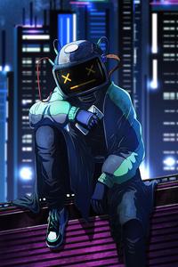 480x800 Robo Helmet Guy Listening Music 4k