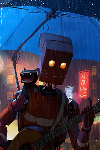 750x1334 Robot Cat Guitar Umbrella Rain 4k