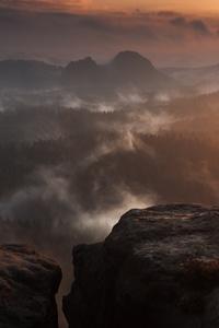 Rock Hill Fog Clouds Forest Sunset 5k