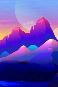 Rock Mountains Landscape Colorful Illustration Minimalist
