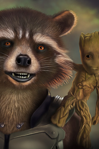 720x1280 Rocket And Baby Groot Artwork