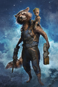 320x480 Rocket Raccoon And Baby Groot Summer Of Heroes