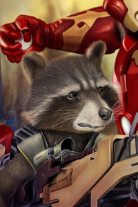 720x1280 Rocket Raccoon And Iron Man Digital Art