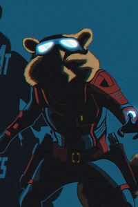 320x568 Rocket Raccoon Avengers End Game Minimal 4k