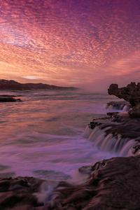320x480 Rocks Orange Waves Reflection Purple Evening 4k