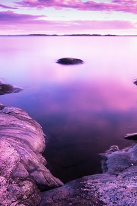 1080x2280 Rocks Pink Scenery Evening Sea 8k